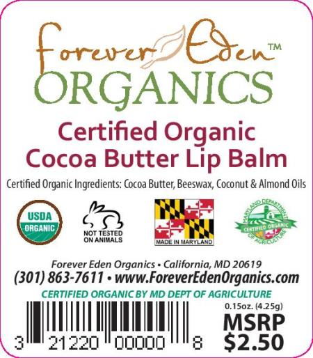 Certified Organic Cocoa Butter Lip Balm - 5 Pack